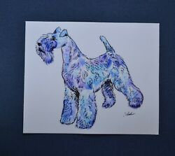 Kerry Blue terrier. Bumper Sticker. From my original watercolor!  OOAK .LOOK!