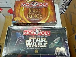 Lot Of Hasbro Monopoly Board Games: Lord of The Rings Trilogy & Star Wars