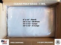 Clear Poly Bags Large Small Plastic Baggies Open Flat Packing T-Shirt Apparel $33.50