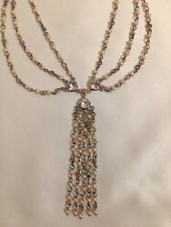 Monet Chandelier Necklace Silver Tone w Faux Pink Pearls amp; Pink Rhinestones $6.99