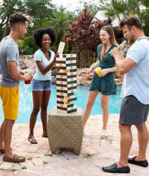 5ft Jenga Game Giant Yard Big Large Wood Block Picnic Party Tower Outdoor Drink