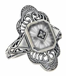 Victorian Style Camphor Glass Sunray Filigree Diamond Ring Sterling Silver $63.99