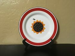 Vintage BLUE SKY Hand painted Sunflower Enamel Metal Plate Platter $15.85