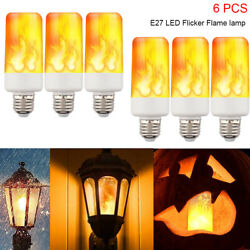 6-PACK LED Flame Effect Fire Light Bulb E27 Flickering Lamp Simulated Decorative