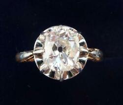 Superb art deco 18ct and white gold 1.60ct cushion cut diamond solitaire ring