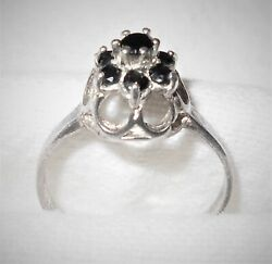 VTG Sterling Silver Ring Princess-Queen Crown Setting Black Onyx Gemstones Sz 8