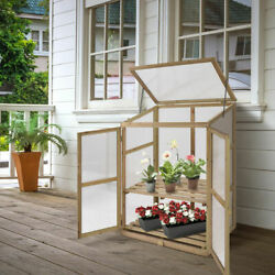 Portable Wooden GreenHouse Cold Frame Garden Raised Plants Shelves Protection