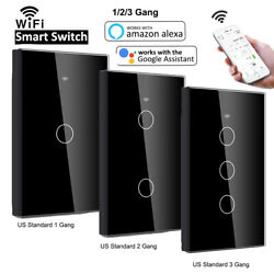 1 2 3 Gang Smart WiFi Touch Wall Light Switch US Panel for Alexa Google Home $6.99