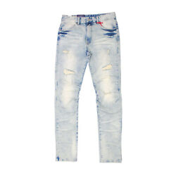 Mens Smoke Rise Articulated Knee Slim Tapered Beach Blue Wash Jeans