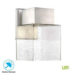 Outdoor Exterior Light LED Wall Mount Lantern Bubble Seeded Glass Sconce Nickel