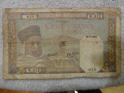 1940 Algeria 100 Francs Banknote - WWII North Africa Theater - Worn - no holes