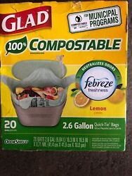 Glad OdorShield 2.6 gal. Compost Bags Quick Tie 20 pk $12.70