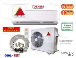 12000 BTU Ductless Air Conditioner Heat Pump Mini Split 110V 1 Ton With Kit $484.99