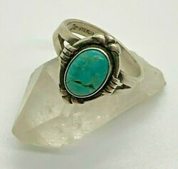 Bell Trading Post Vintage Sterling Silver Cracked Turquoise Ring Size 6 $40.00
