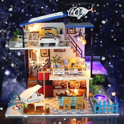 LED Musical DIY Dollhouse Doll House Miniature Room Kit Toy Furniture Gift USA