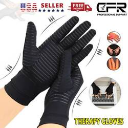 Copper Compression Arthritis Gloves Finger Fit Carpal Tunnel Typing Support Hand $11.99