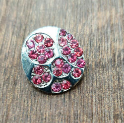 MOM Rhinestone Heart Charm Chunk Snap Button FIT For Noosa Leather Bracelets NEW