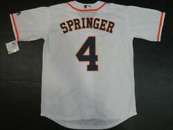 New George Springer #4 Houston Astros Men's Cool Base Collection Jersey White