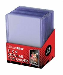 25 ULTRA PRO TOPLOADERS FITS STANDARD SIZED SPORTS amp; TRADING CARDS RIGID CLEAR $7.99