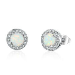 Exquisite White imitation Opal Fashion Jewelry Gemstone Silver Stud Earring