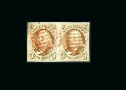 US Stamp Used XF S#1PAIR with very large margins light red grid cancels right