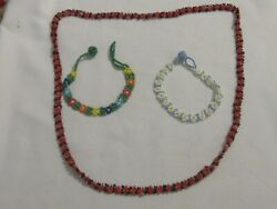 Lot of 3 Seed Bead Items 2 Bracelets and One Necklace - Unmarked