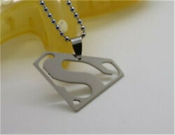 High Quality 1Pcs Silver Fashion Stainless Steel Superman Men Pendant Necklace