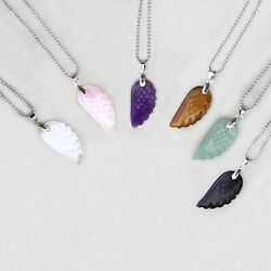 6Pcs Natural Chakra Stone Healing Angel Wings Crystal Pendant for Necklace Set $18.18