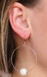 Women Large Hoop Earrings Pierced Jewelry Silvertone Circle Earrings With Pearl