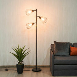 Modern 3 Light Tree Floor Lamp Adjustable Cage shade with Foot Switch Room Décor $62.79