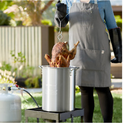 30 Quart Aluminum Turkey Stock Pot with Lid and Accessories Outdoor Fryer Kit