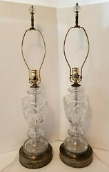 SET OF 2 BEAUTIFUL VINTAGE CUT CRYSTAL LAMPS WITH BRASS FILIGREE BASE REWIRED $300.00