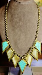 Vintage In Seattle Lot#477 gorgeous APT signed stone inlay statement necklace