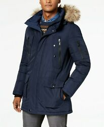 $350 Calvin Klein Men's Long Snorkel Coat XL Blue Faux-Fur Trimmed Hood