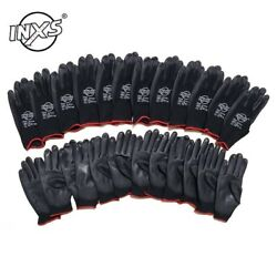 12 Pairs Polyester Nylon PU Work Gloves For Builders Garden Fishing Work Gloves $11.81