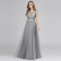 US Ever Pretty Long Lace O Neck Formal Cocktail Dresses Party Dress Evening Gown $38.99