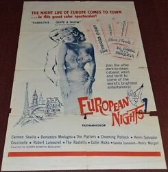 EUROPEAN NIGHTS 1963 ORIG. MOVIE POSTER! SEXY NIGHTLIFE EXPLOITATION DOCUMENTARY