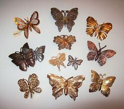 11 Piece Vintage and Modern Mixed Tone Butterfly BroochPin Lot
