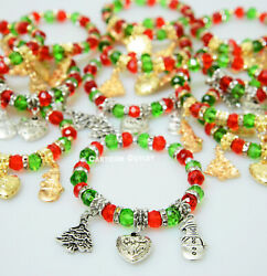 12 CHRISTMAS BRACELETS HOLIDAY PARTY FAVORS PRIZE WHOLESALE LOT RECUERDOS $14.23