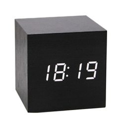 Modern Cube Square Wooden Wood Digital LCD Alarm Clock Thermometer Voice Control