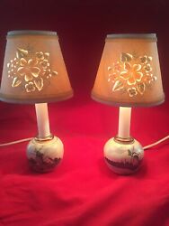 White and Blue Small Lamps Delft like Cut Out Shades 10 1 2quot; $27.99
