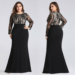 US Ever-Pretty Long Plus Size O-Neck Beaded Formal Evening Prom Dress Gown 7771 $26.09