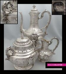 TETARD SPECTACULAR ANTIQUE 1880s FRENCH STERLING SILVER COFFEE S
