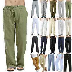 Plus Size Mens Casual Linen Baggy Yoga Pants Loose Straight Beach Long Trousers