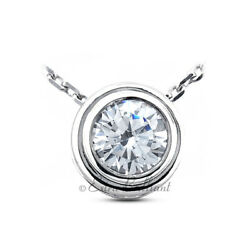 1.54ct G SI1 Round Natural Certified Diamond 14k White Gold Solitaire Pendant
