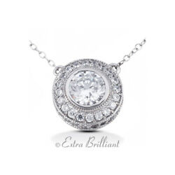 3.17ct HSI2 Round Earth Mined Certified Diamonds 14k White Gold Halo Pendant