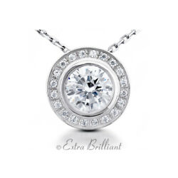 1.45 CTW FVS1 Round Cut Natural Certified Diamonds 14k White Gold Halo Pendant
