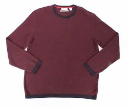 Calvin Klein Mens Sweater Chestnut Red Size 2XL Pullover Crewneck Wool $69 #053