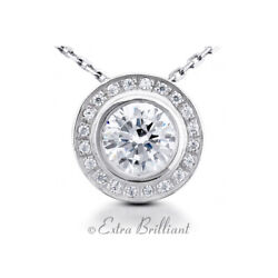 2.26 CTW G SI1 Round Cut Natural Certified Diamonds 18k White Gold Halo Pendant