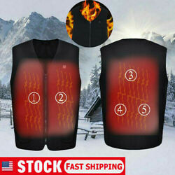 Unisex Warm Winter Electric Vest Heated Jacket USB Thermal Heat Pad Body Warmer